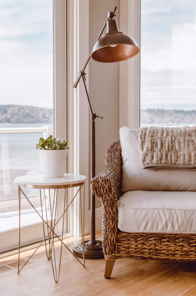 Stunning interior decoration and waterfront view